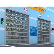 Промышленные секционные ворота с панорамным остеклением ISD02